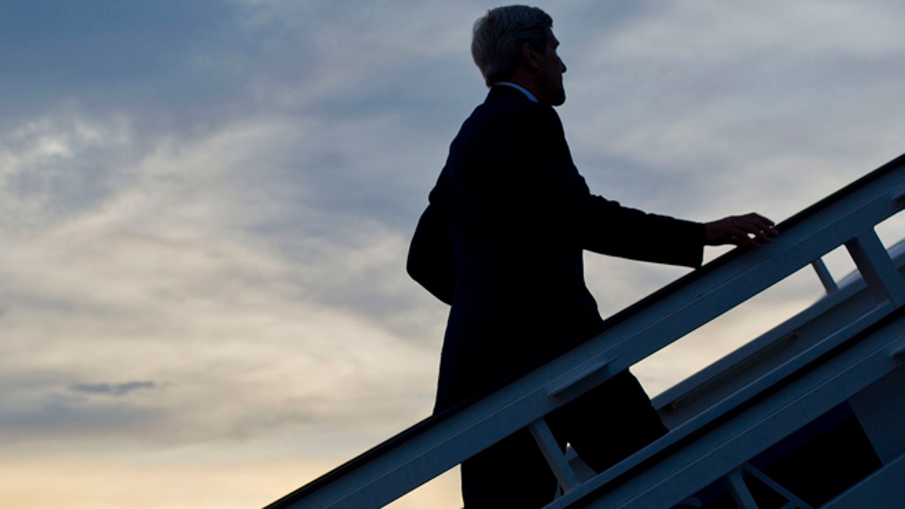 Aug 14, 1015: Secretary of State John Kerry boards his aircraft prior to his departure at Jose Marti International Airport in Havana, Cuba. (AP)