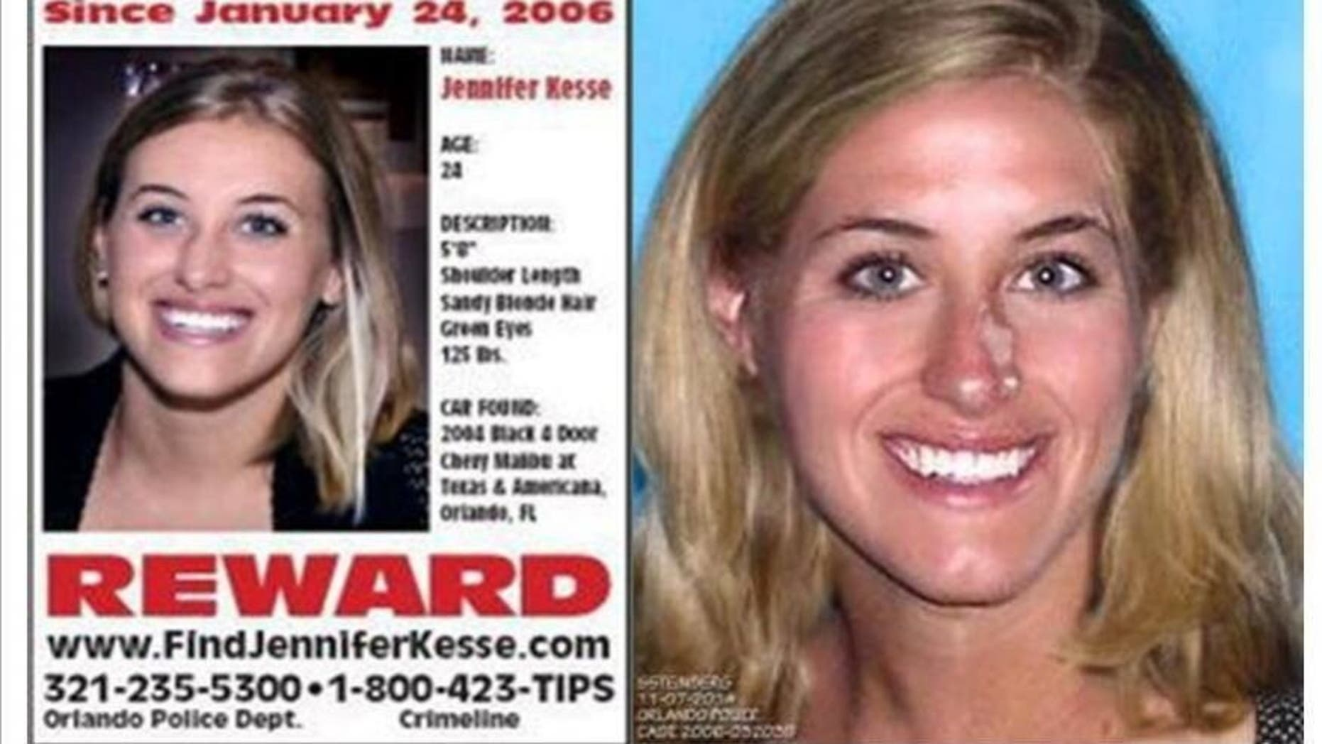 Jennifer Kesse is pictured on the left at age 24. Investigators age-progressed her image in 2016, pictured right, to show what she would look like 10 years later.