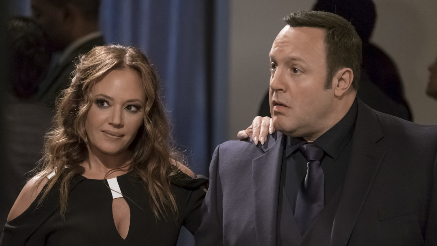 """Sting of Queens: Part One"" and ""Sting of Queens: Part Two""-- Kevin begrudgingly agrees to come out of retirement briefly to reprise an undercover assignment where he and his old rival Vanessa Cellucci (Leah Remini), once again, pose as husband and wife. Also, Donna is up for a promotion, Kendra gets accepted to law school, and Chale gets a lucrative new job, on part one of the two-part first season finale of KEVIN CAN WAIT, Monday, May 1 (8:00-8:30 PM, ET/PT) and Monday, May 8 (8:00-8:30 PM, ET/PT) on the CBS Television Network. Pictured: Leah Remini, Kevin James.   Credit: Jeff Neumann/CBS ©2017 CBS Broadcasting, Inc. All Rights Reserved"