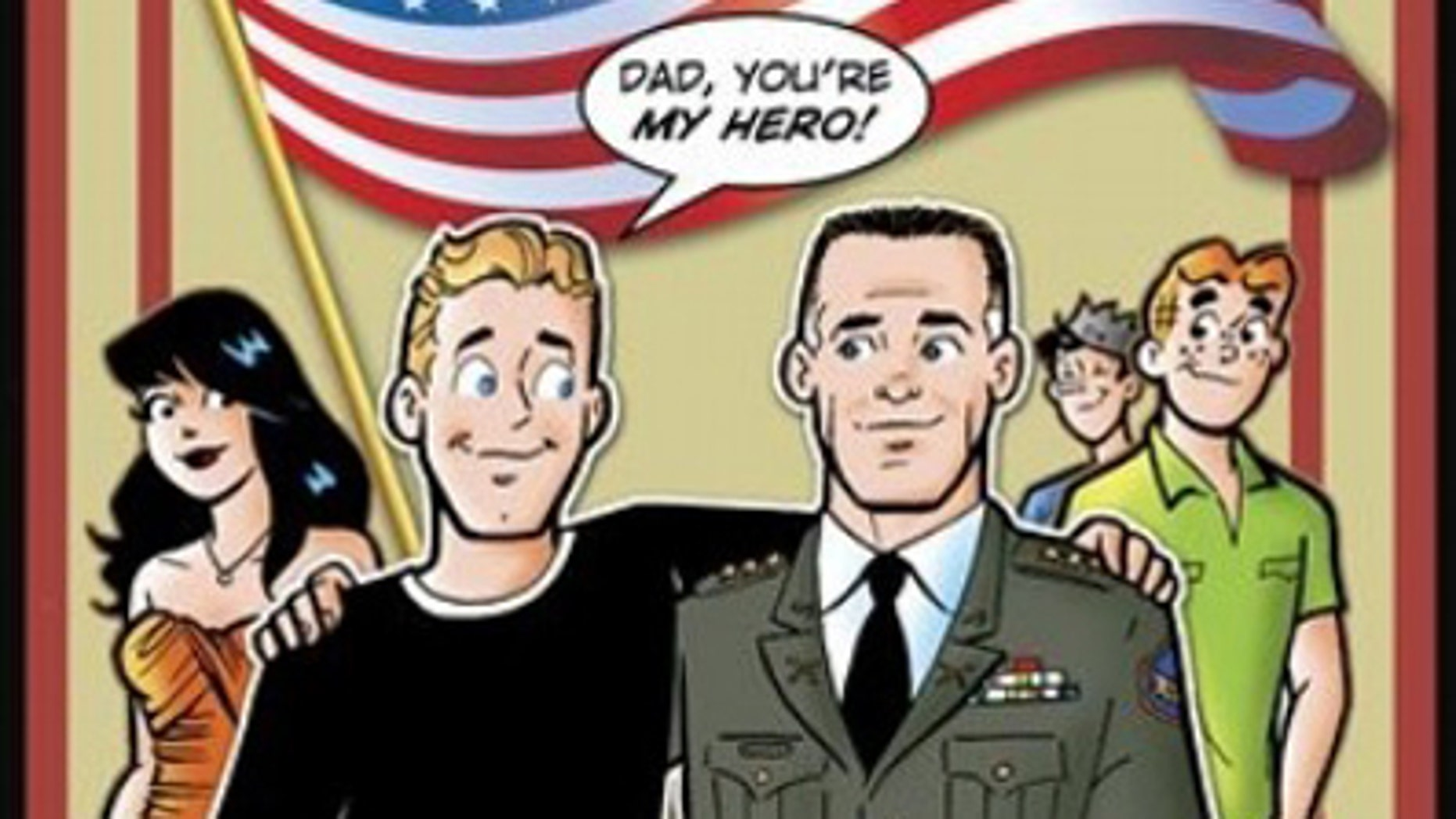 In this comic book cover image released by Archie Comics, Kevin Keller, left, the series' first openly gay character, is shown on the cover with his father, a retired Army colonel. Keller is the focus of an upcoming gay marriage storyline in Life With Archie that has drawn mixed reactions from critics.