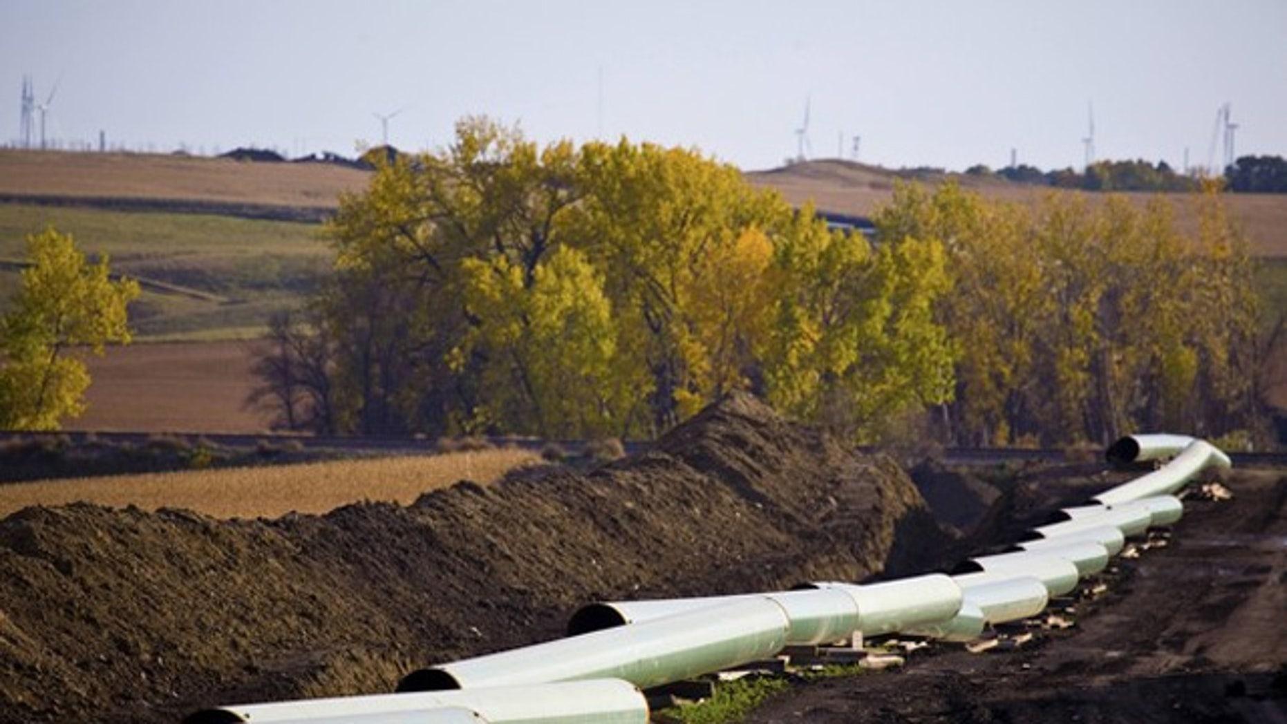 The Keystone XL Pipelin is show under construction in North Dakota