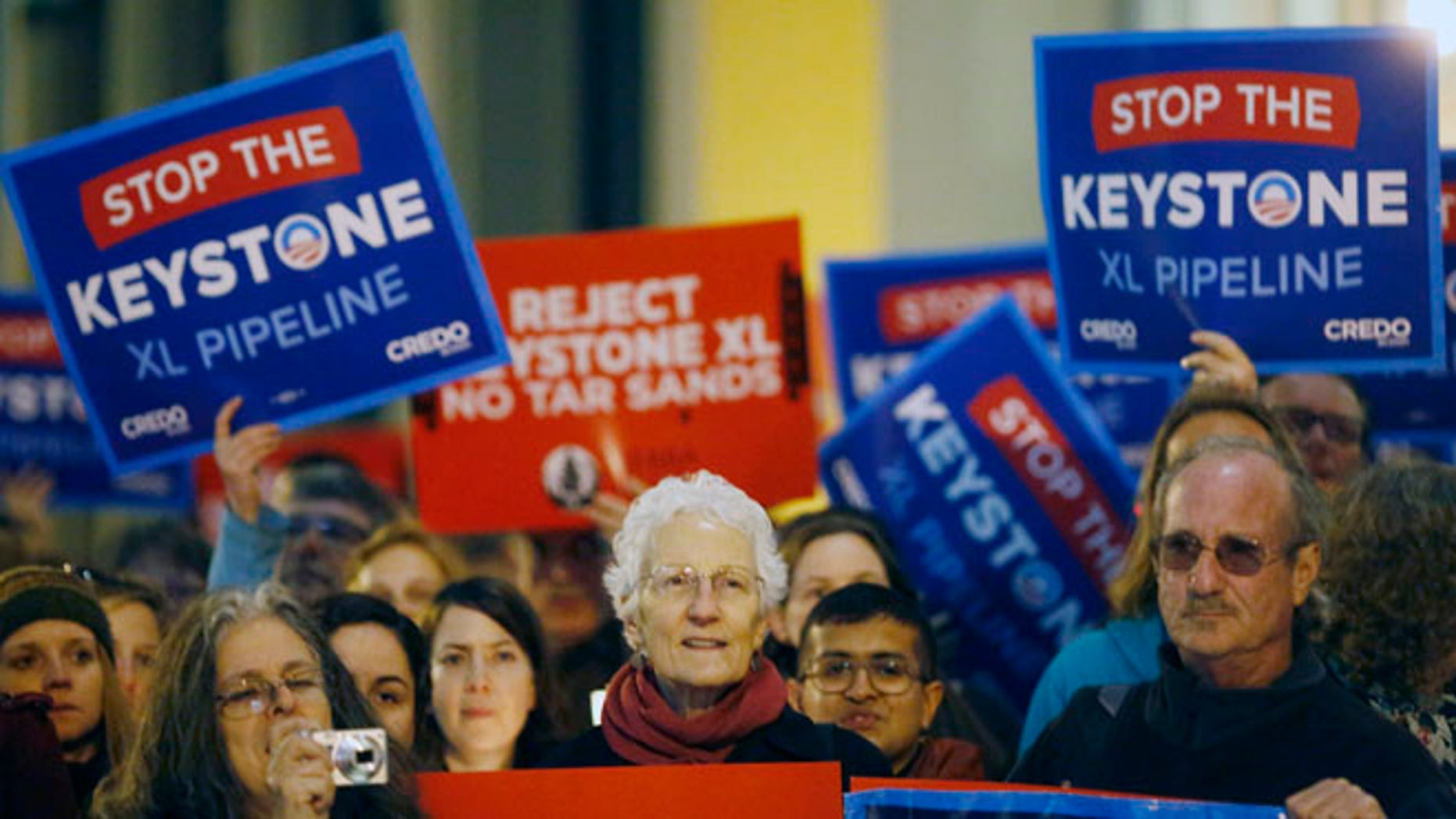 Feb 3, 2014: Demonstrators protest against the proposed Keystone XL oil pipeline in San Francisco, California. (Reuters)