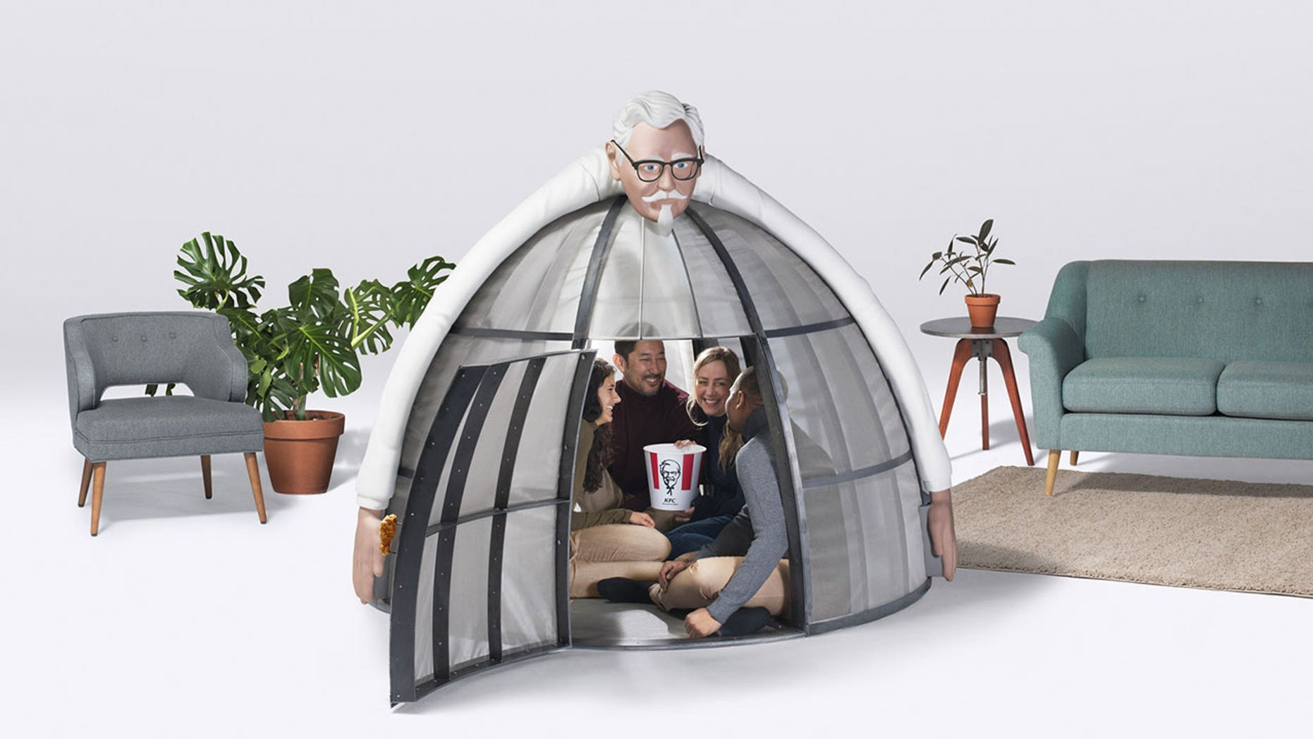 KFC's one-of-a-kind steel, foam and colonel-topped igloo blocks internet signals from leaving or entering the igloo.