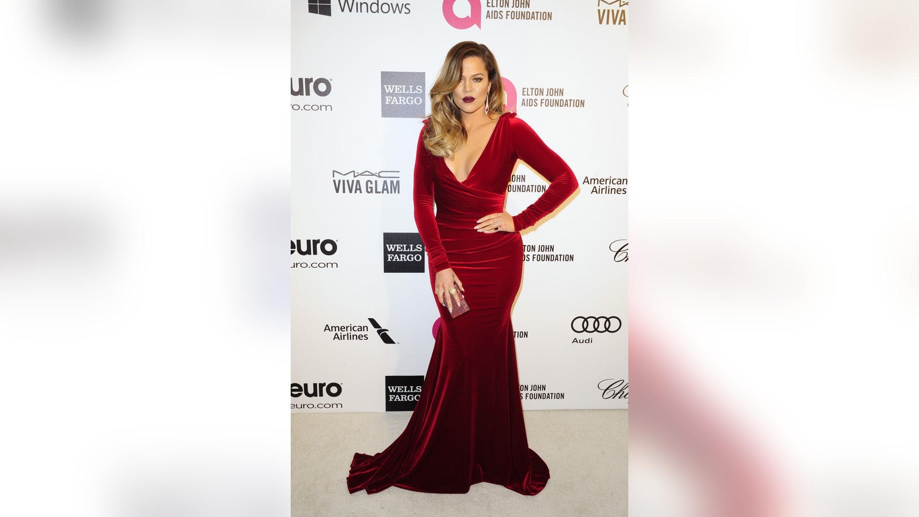 March 2, 2014. Television personality Khloe Kardashian arrives at the 2014 Elton John AIDS Foundation Oscar Party in West Hollywood, California.