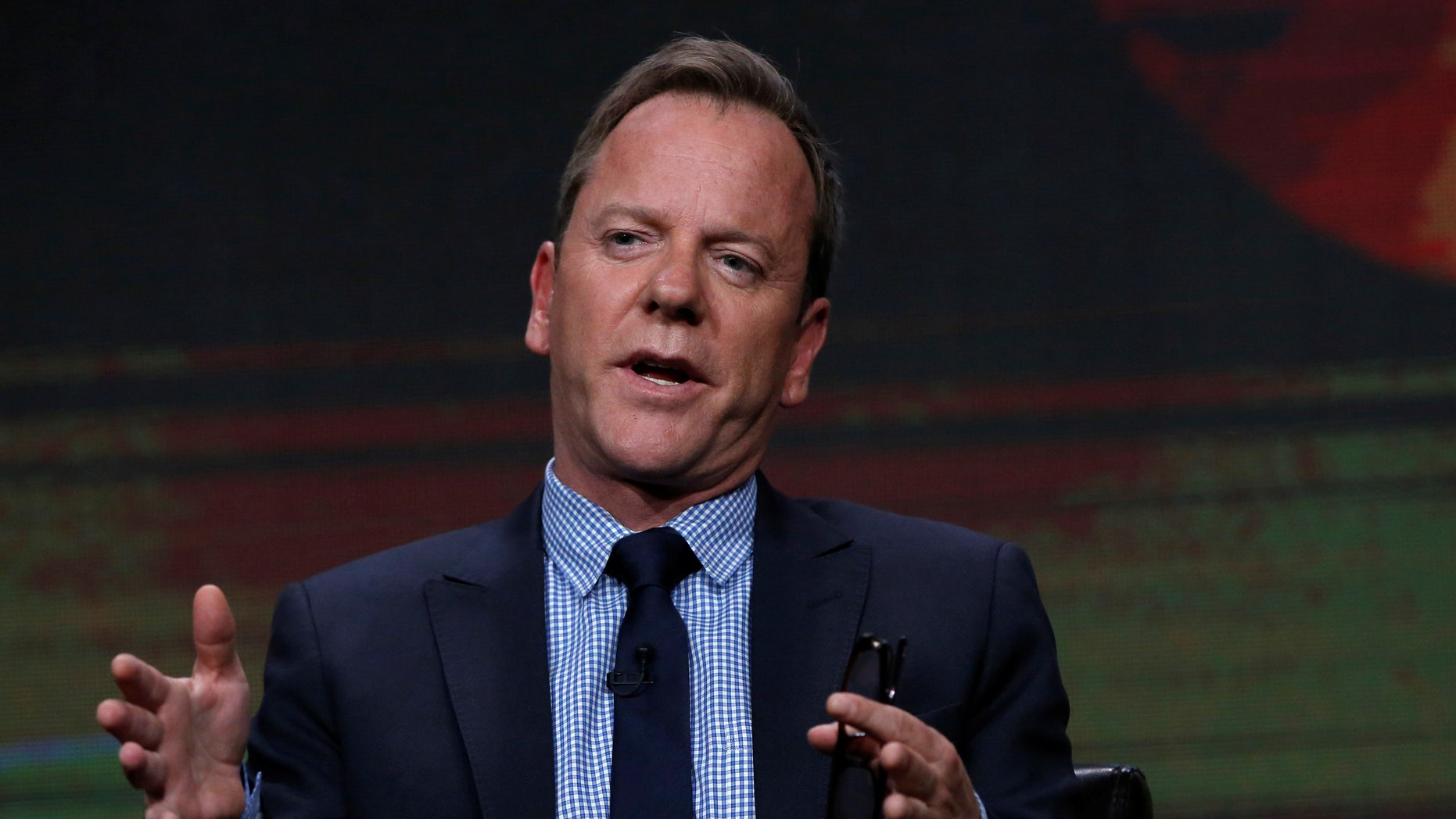 """Cast member Kiefer Sutherland attends a panel for the television series """"Designated Survivor"""" during the TCA Disney ABC Summer Press Tour in Beverly Hills, California U.S., August 4, 2016."""