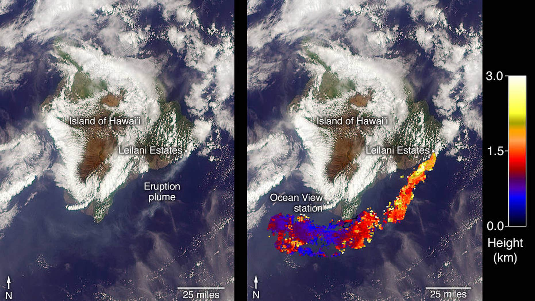 NASA's Terra satellite captured this view of the ash plume wafting from Hawaii's Kilauea volcano on May 6, 2018, using its Multi-angle Imaging SpectroRadiometer instrument. The right-hand frame shows the height of the plume.