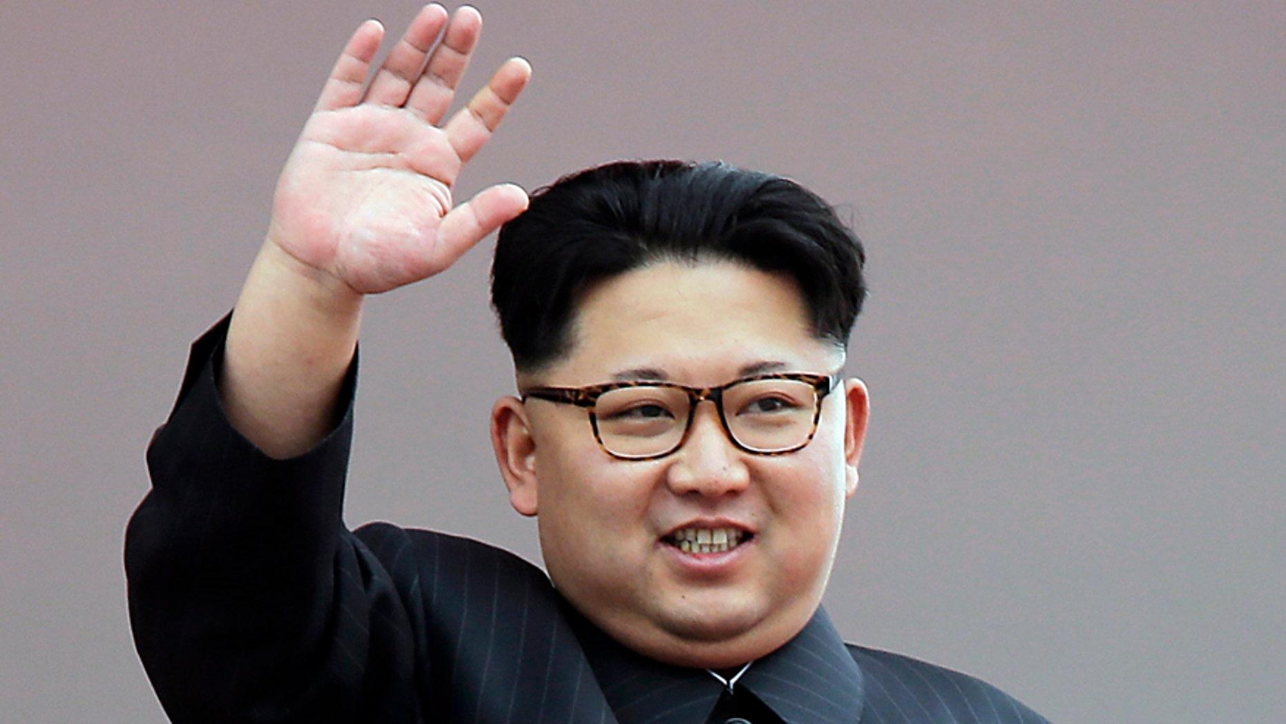 In this May 10, 2016, file photo, North Korean leader Kim Jong Un waves at parade participants at the Kim Il Sung Square in Pyongyang, North Korea.