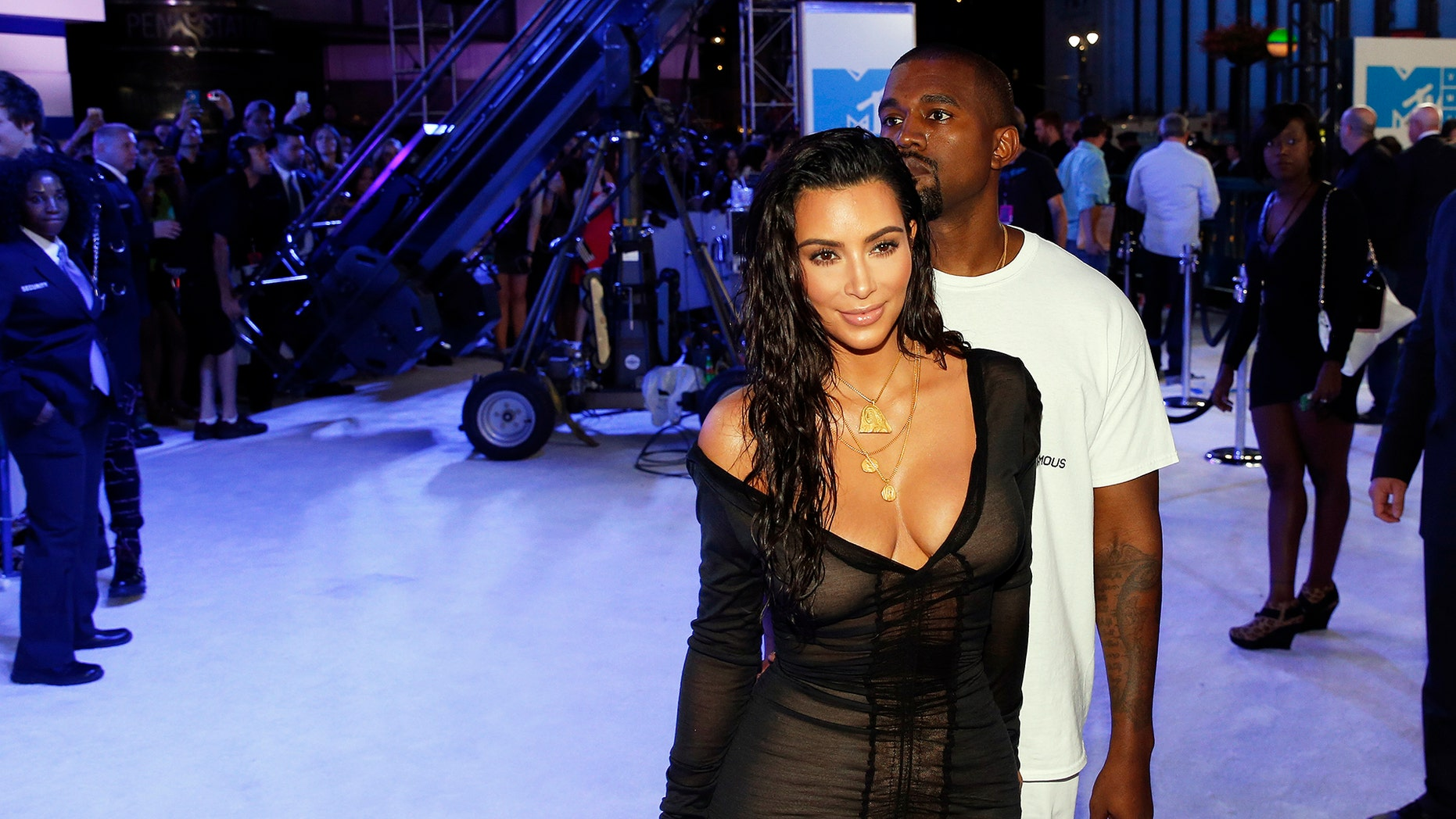 Kim Kardashian and Kanye West arrive at the 2016 MTV Video Music Awards in New York, U.S., August 28, 2016.