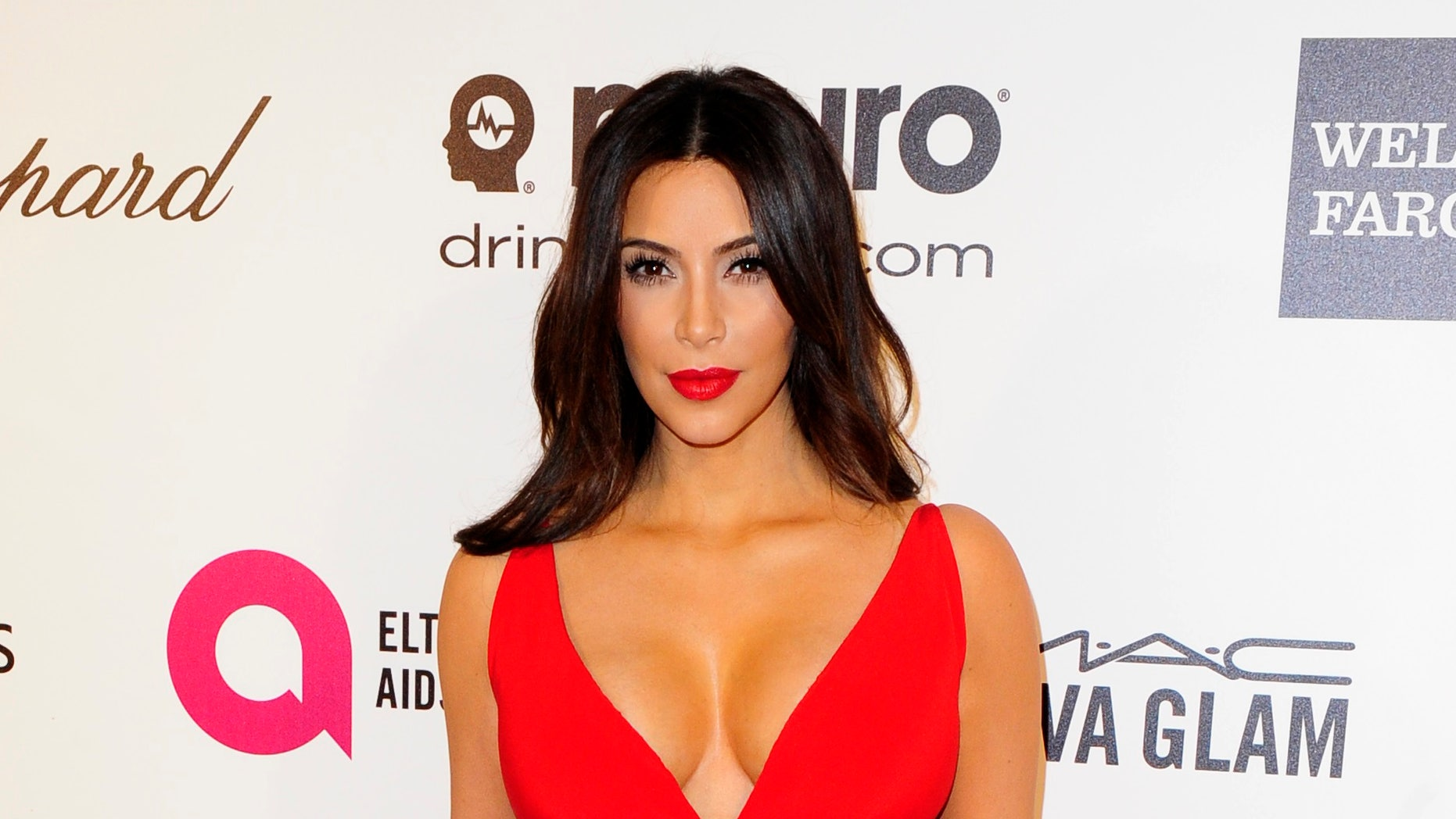 March 2, 2014. Television personality Kim Kardashian arrives at the 2014 Elton John AIDS Foundation Oscar Party in West Hollywood, California.