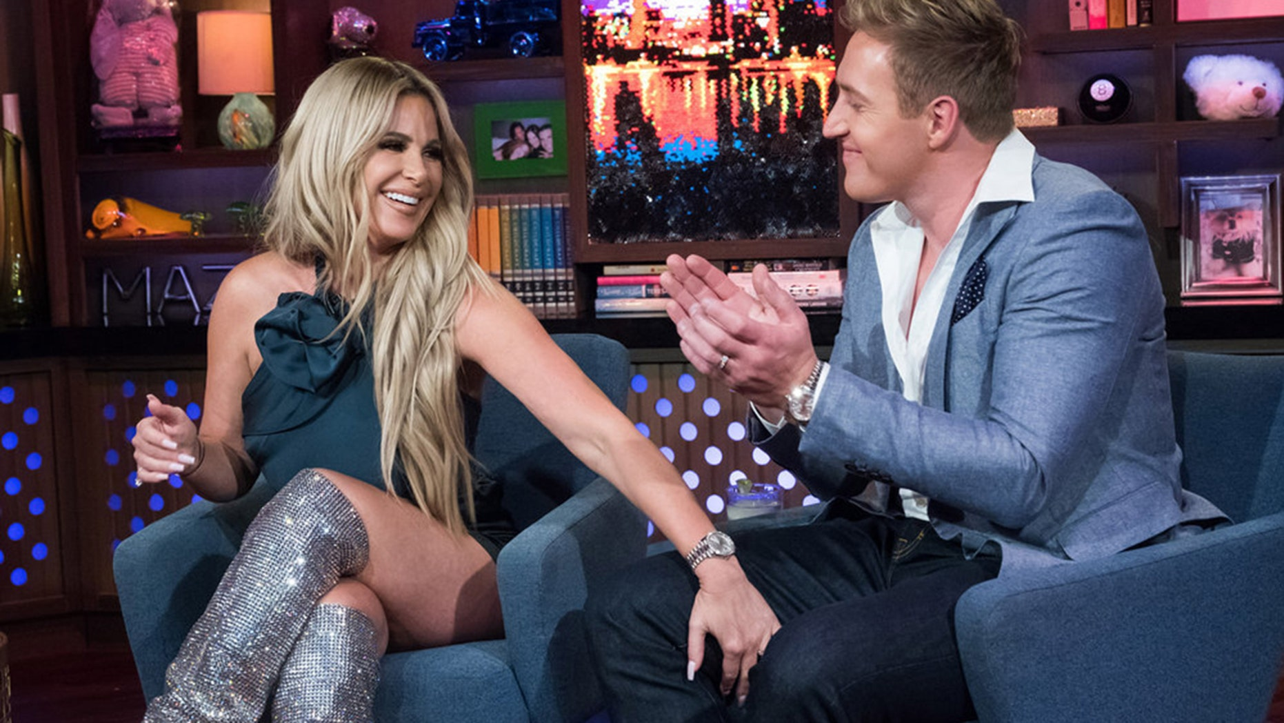 """Kim Zolciak-Biermann (left) and her husband Kroy Biermann appear on Bravo's """"Watch What Happens Live With Andy Cohen."""""""