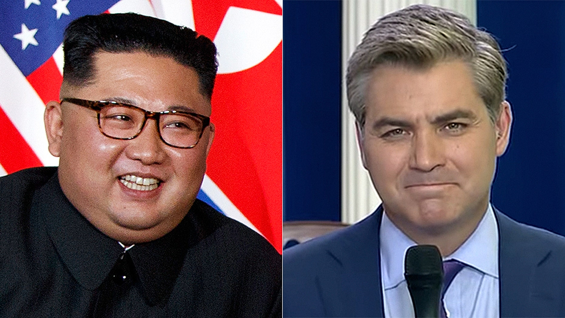 North Korean leader Kim Jong Un, left, got a taste of CNN star Jim Acosta's grandstanding questions Tuesday.