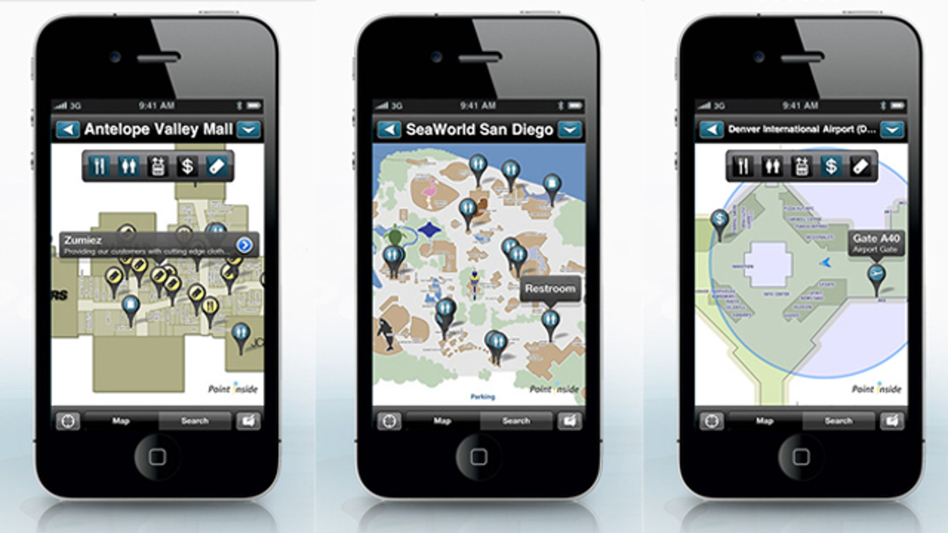The Point Inside app provides indoor navigation for airport, malls, and theme parks.