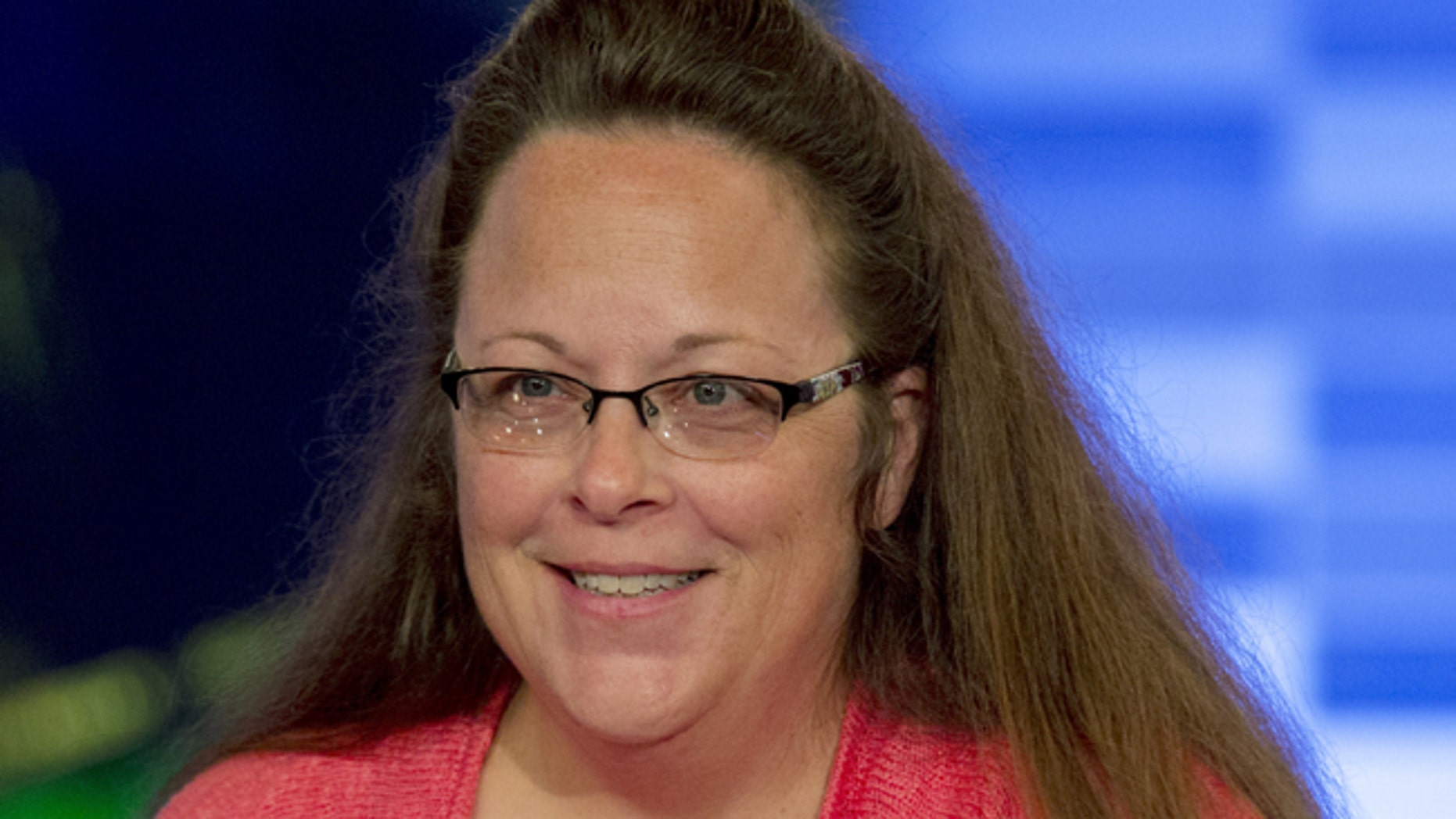 Kentucky county clerk Kim Davis appears on Fox News Channel's 'The Kelly File' in New York on September 23, 2015.