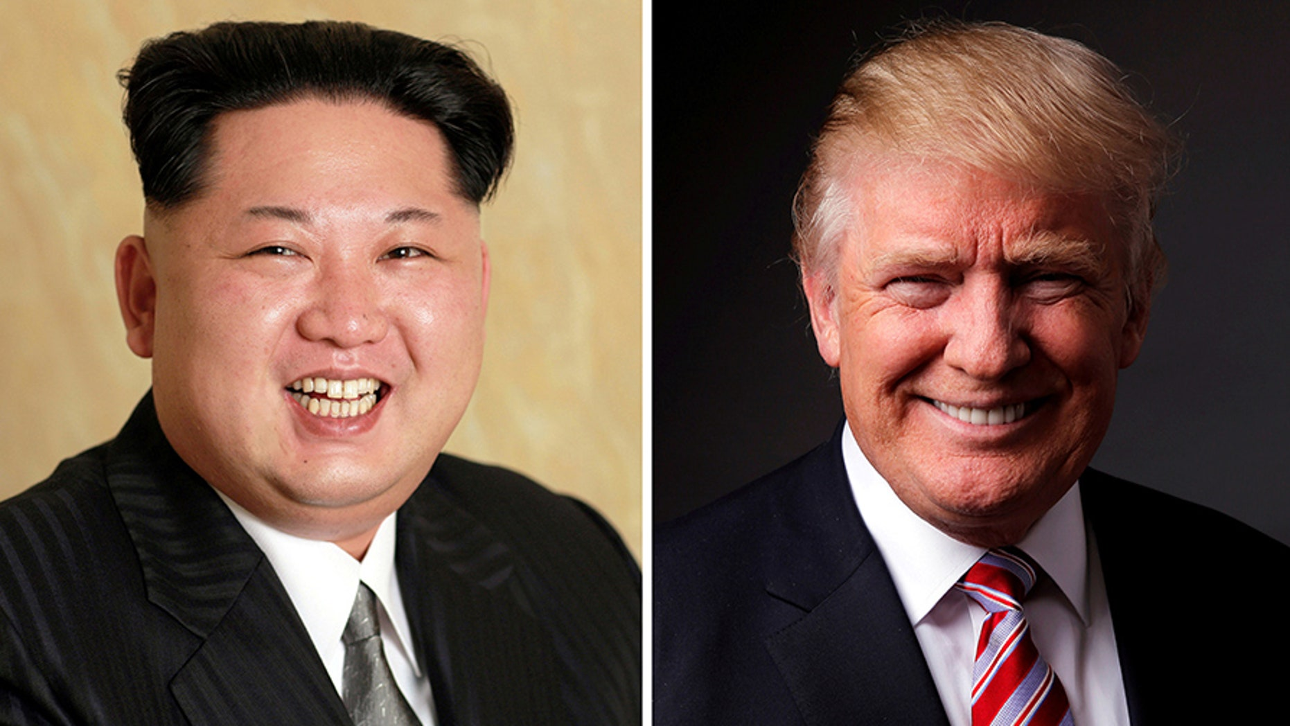 A combination photo shows a Korean Central News Agency (KCNA) handout of North Korean leader Kim Jong Un released on May 10, 2016, and Republican U.S. presidential candidate Donald Trump posing for a photo after an interview with Reuters in his office in Trump Tower, in the Manhattan borough of New York City, U.S., May 17, 2016.