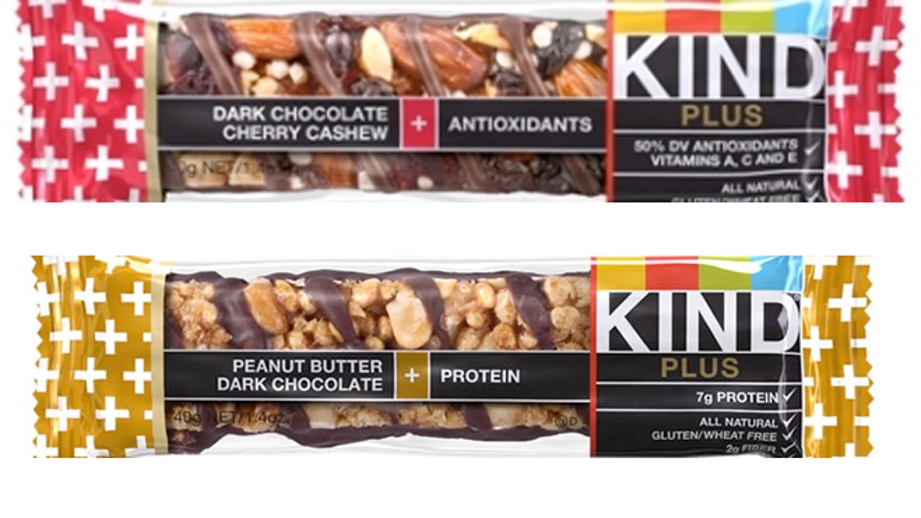 The FDA has identified at least four bars -- KIND Fruit & Nut Almond & Apricot, KIND Fruit & Nut Almond & Coconut, KIND Plus Peanut Butter Dark Chocolate + Protein, and KIND Plus Dark Chocolate Cherry Cashew + Antioxidants -- that contain anywhere from 2.5 to 3.5g of saturated fat per 40g.