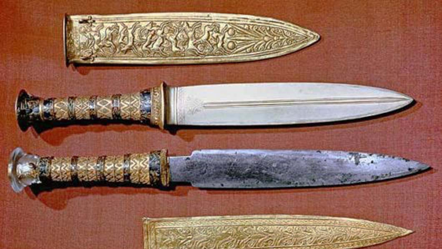The iron dagger found in the tomb of the Egyptian pharaoh Tutankhamun dates to around 1350 B.C., about 200 years before the Iron Age.