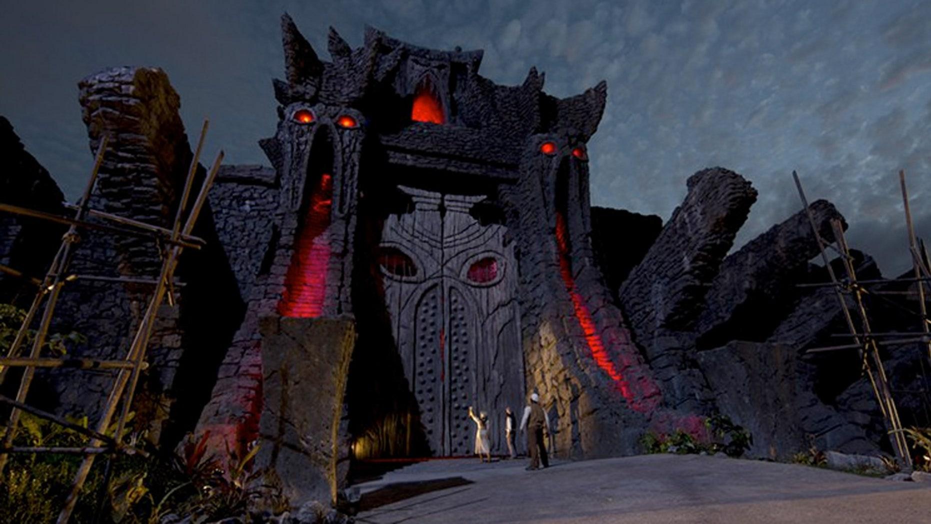 The 72-foot temple doors on Skull Island.