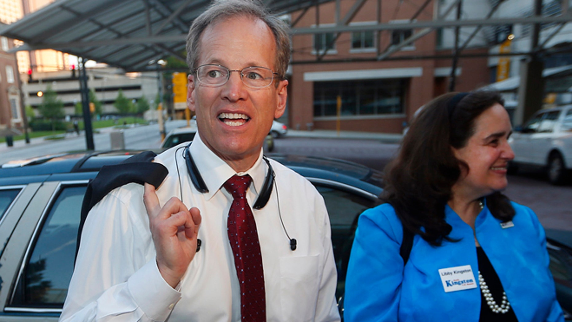 May 20, 2014: Georgia Republican Senate candidate Jack Kingston and his wife Libby arrive for an election-night watch party in Atlanta.