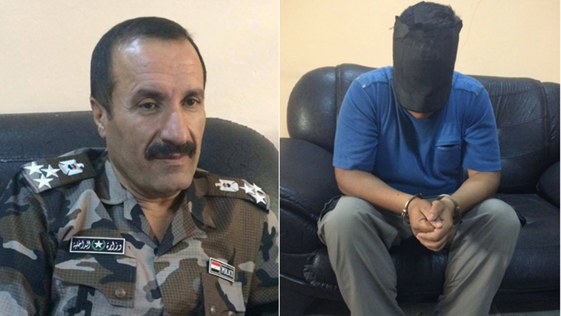 Former ISIS fighter Thahir Sahab Jamel, (r.), claims to disavow the terror group, but Kirkuk Police Brig. Gen. Sarhad Qader Mohammad, (l.), said such conversions are common among prisoners facing hanging.