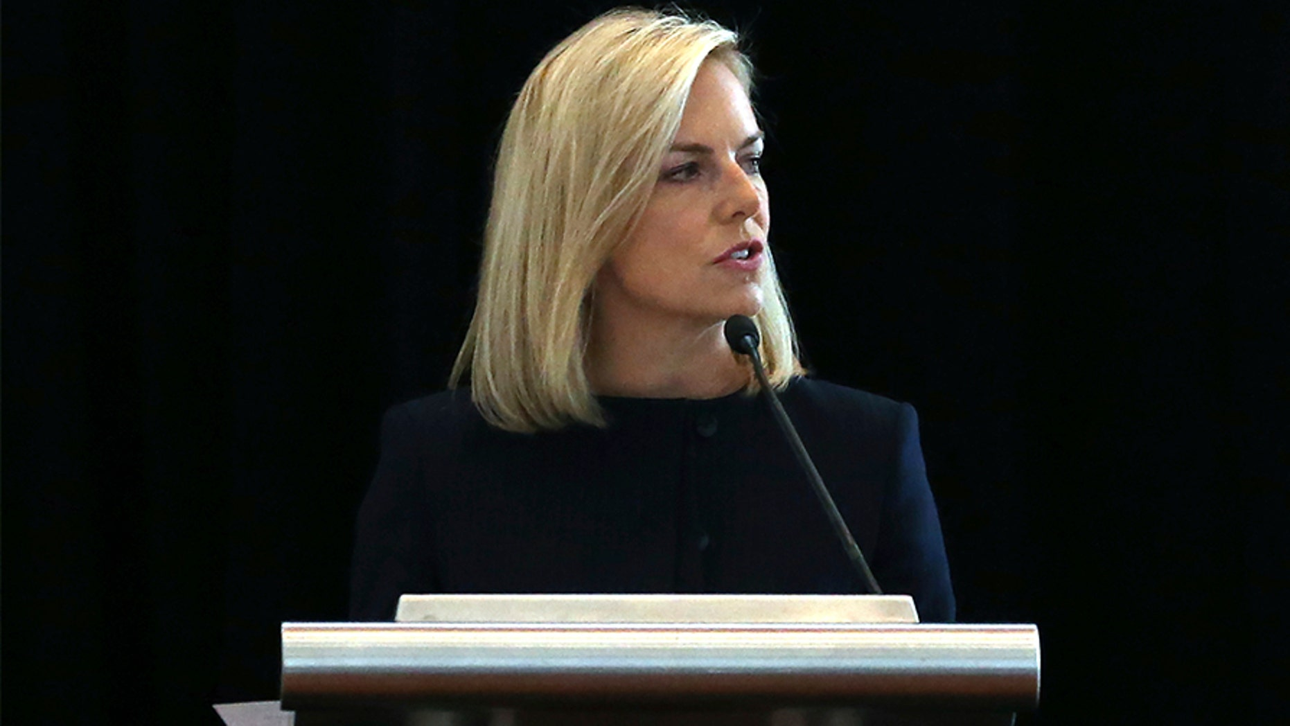 """U.S. Department of Homeland Security Secretary Kirstjen Nielsen addresses a convention of state secretaries of state on Saturday in Philadelphia. Nielsen told the gathering that there are no signs that Russia is targeting this year's midterm elections on the same """"scale or scope"""" it targeted the 2016 presidential election."""