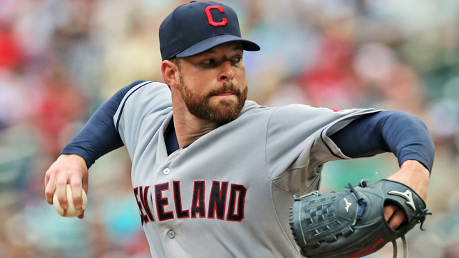 Aug. 21, 2014: Cleveland Indians pitcher Corey Kluber throws against the Minnesota Twins during a baseball game in Minneapolis.