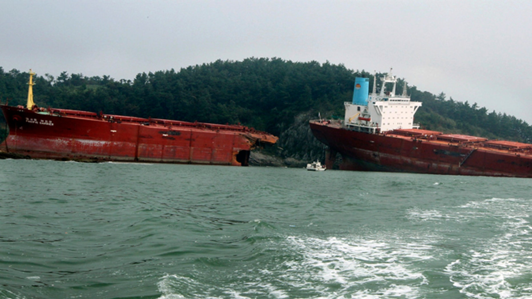 August 29, 2012: A cargo ship carrying coal, snapped in two run aground in the sea after Typhoon Bolaven hit the country in Sacheon, South Korea. As a second typhoon, Bolaven churned Wednesday toward the Korean Peninsula, the two countries began cleaning up from a powerful storm that killed at least 11 people in the South and pummeled a North Korea already struggling to rebuild from earlier flooding.