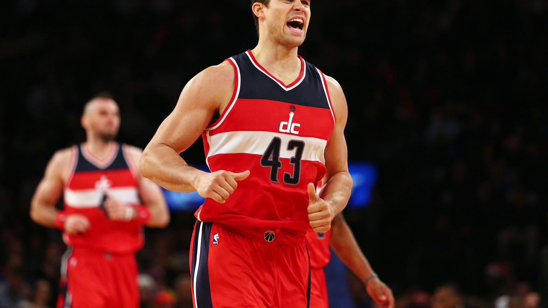 Dec 25, 2014. Washington Wizards power forward Kris Humphries (43) reacts against the New York Knicks during the third quarter at Madison Square Garden.