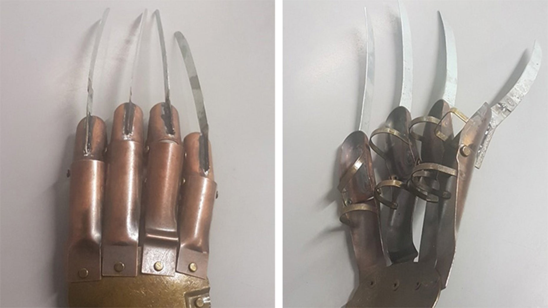 This Freddy Krueger-like metal glove was dropped off at UK police department.