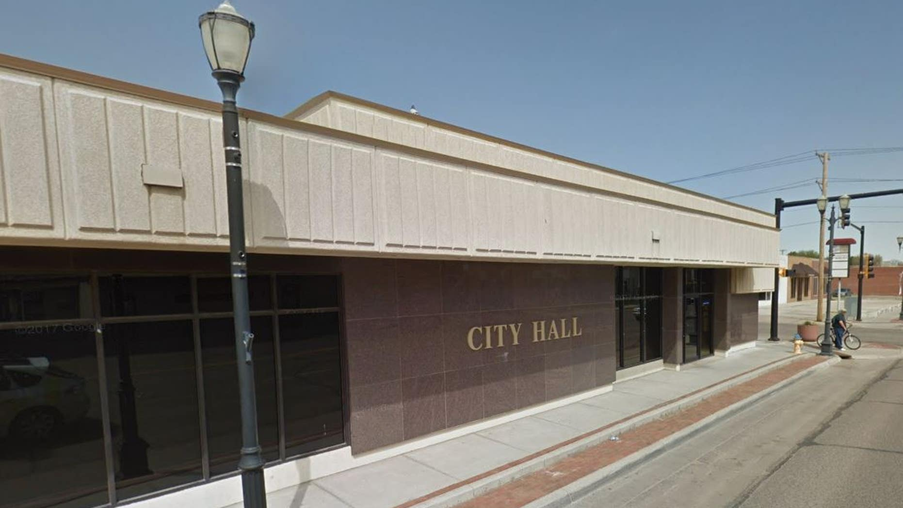 Outside city hall in Liberal, Kansas.