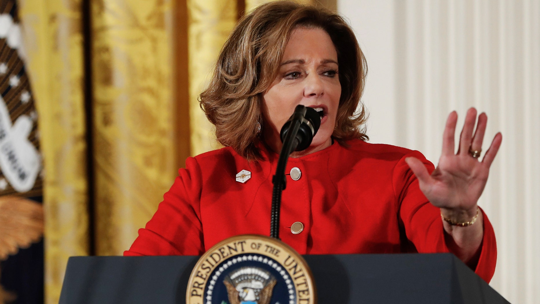 In this Wednesday, March 29, 2017, file photo, Deputy National Security Adviser K.T. McFarland speaks at the Women's Empowerment Panel, at the White House in Washington.
