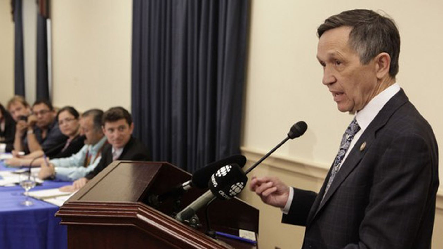 Rep. Dennis Kucinich speaks during a briefing on Capitol Hill May 26.