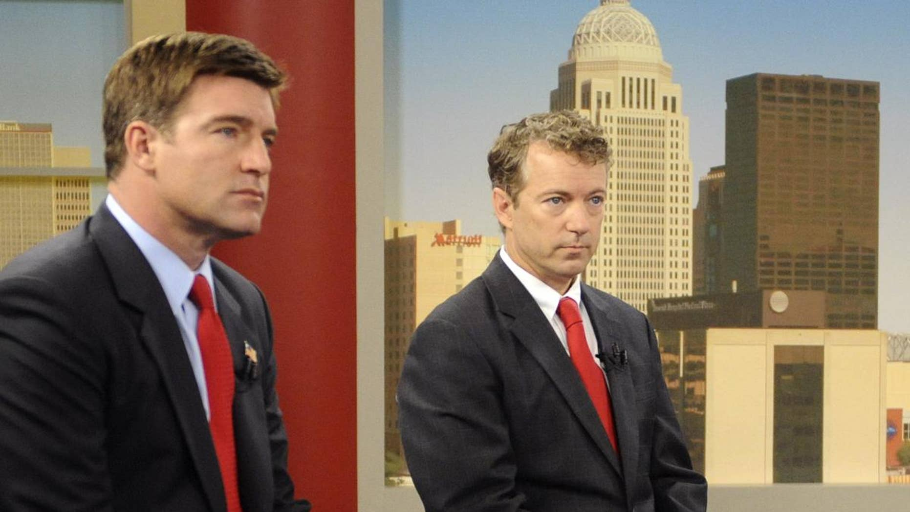 Candidates for Kentucky Senate, Democrat Jack Conway, left, and Republican Rand Paul prepare for a debate in Louisville, Ky, Sunday, Oct. 3, 2010. (AP Photo/Patti Longmire)