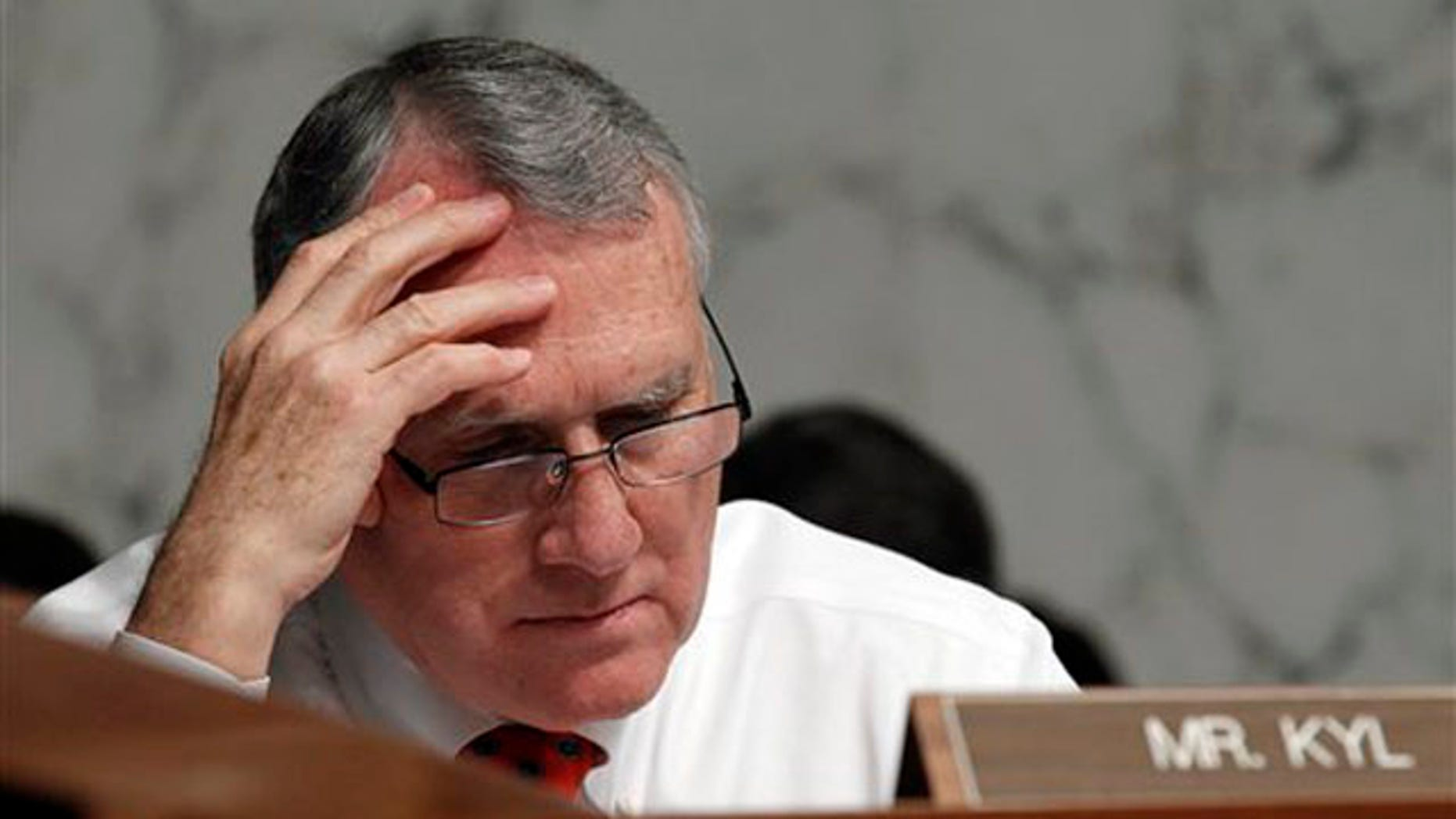 Sen. Jon Kyl listens to opening statements on Capitol Hill in Washington June 28 during the confirmation hearing for Supreme Court nominee Elena Kagan. (AP Photo)