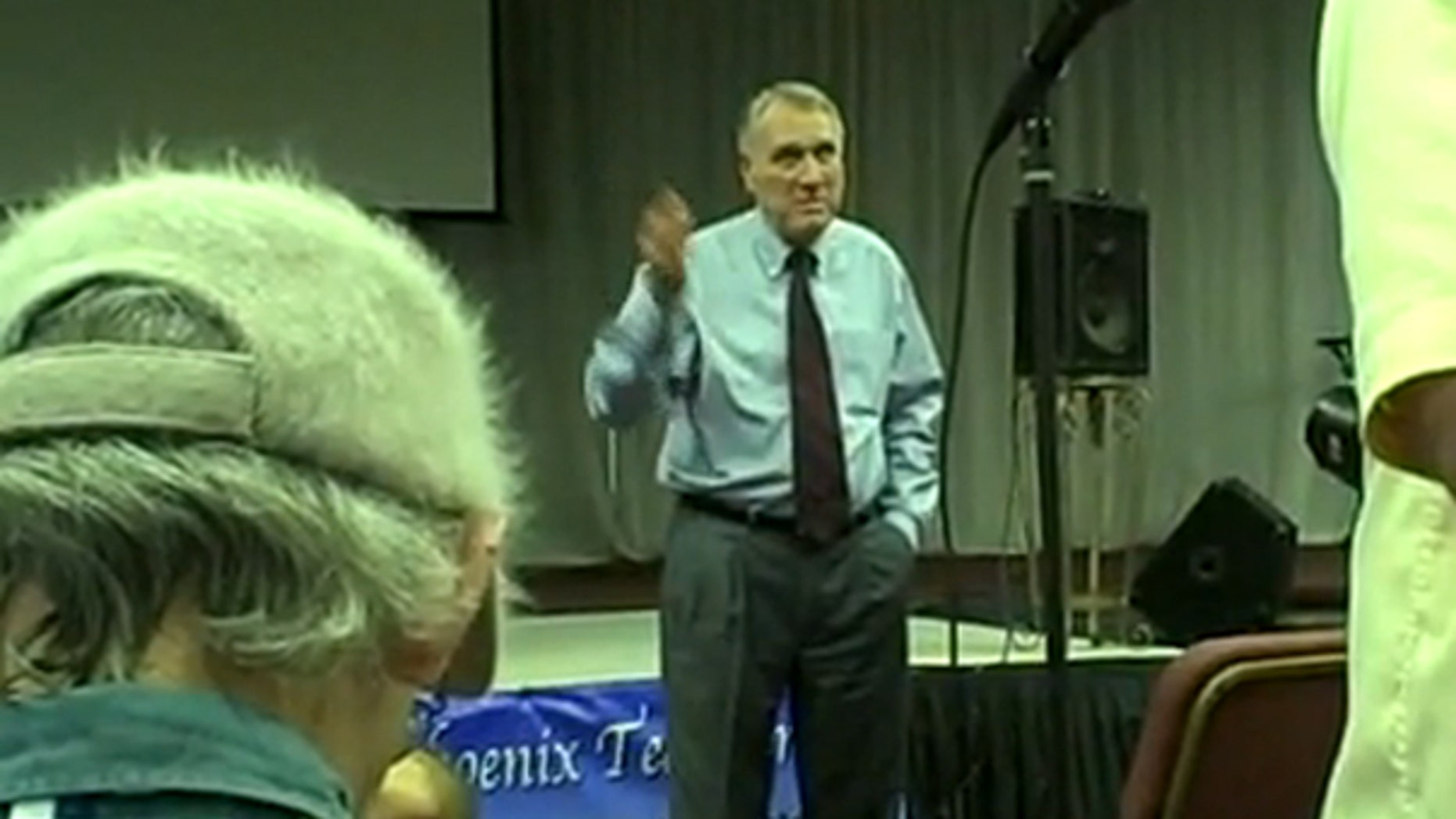 Sen. Jon Kyl is shown at a June 18 town hall meeting in Arizona. (YouTube)