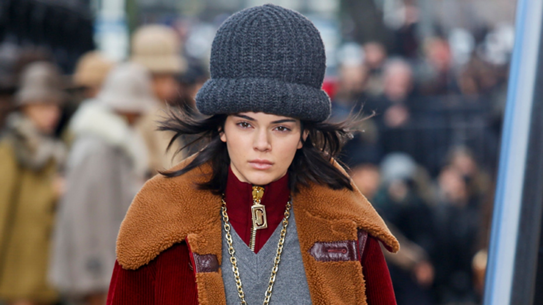 Kendall Jenner models an outfit from the Marc Jacobs collection during NY Fashion Week.