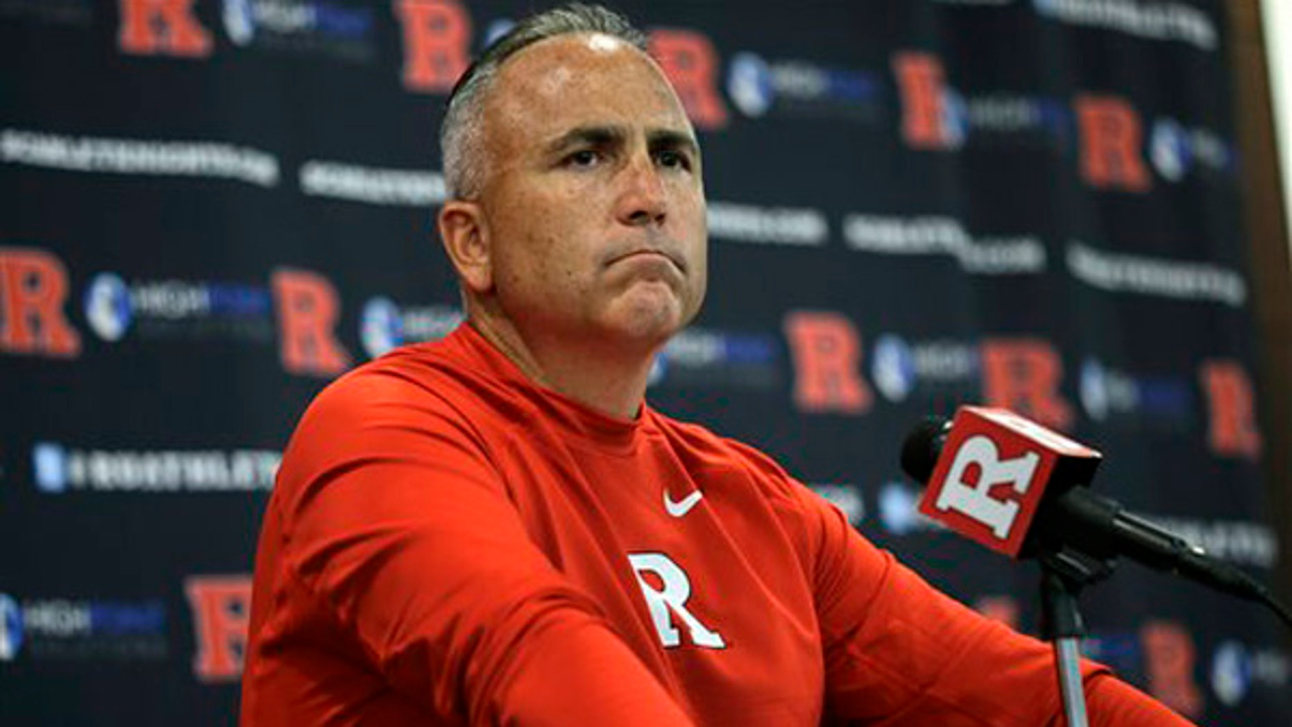 Sept. 5, 2015:  Rutgers head coach Kyle Flood listens to a question as he addresses the media after his team defeated Norfolk State, 63-13 in an NCAA college football game in Piscataway, N.J.