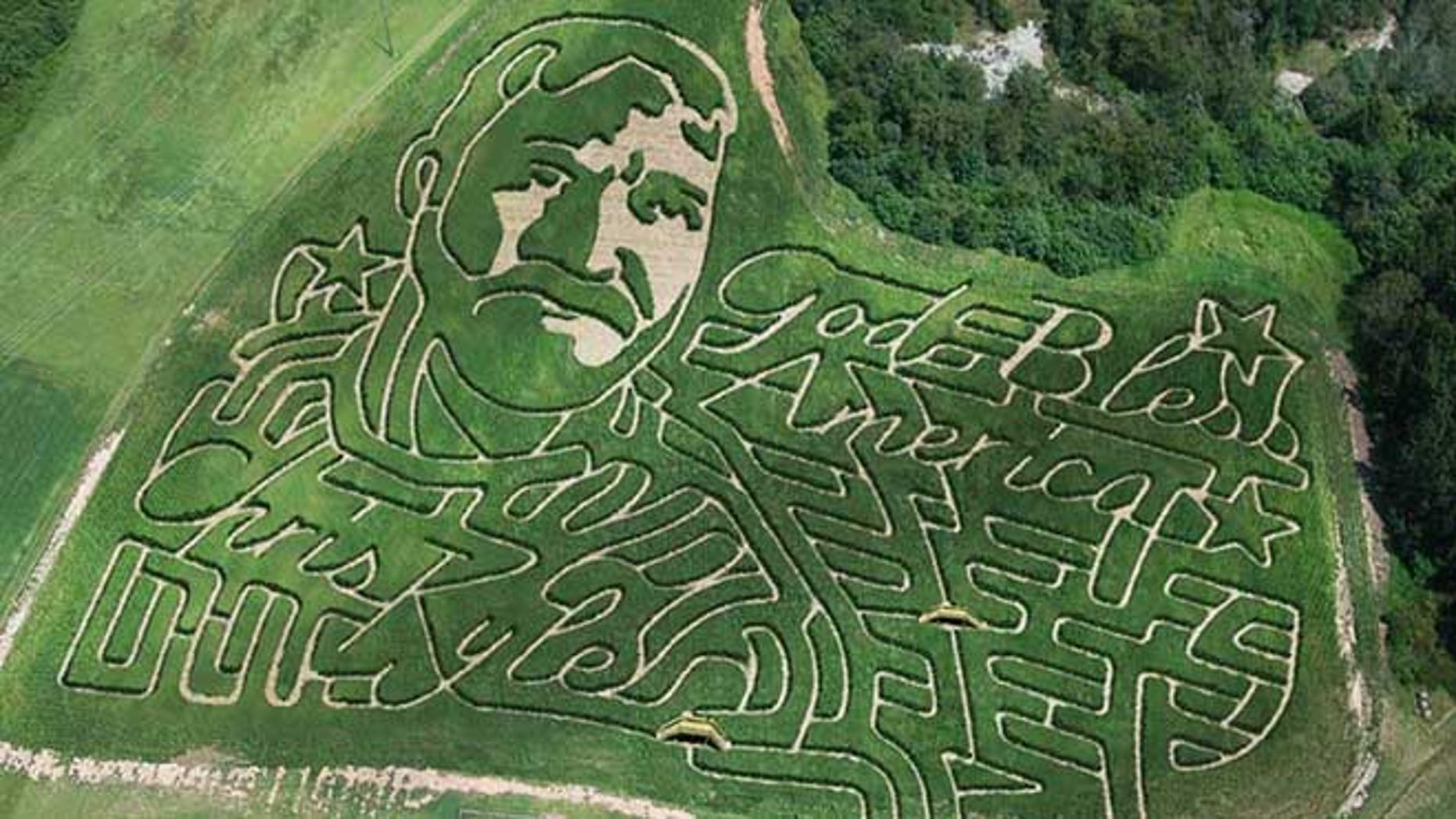 The seven-acre corn maze at Corn Dawgs in Georgia was carved into the likeness of Chris Kyle  (Corn Dawgs)