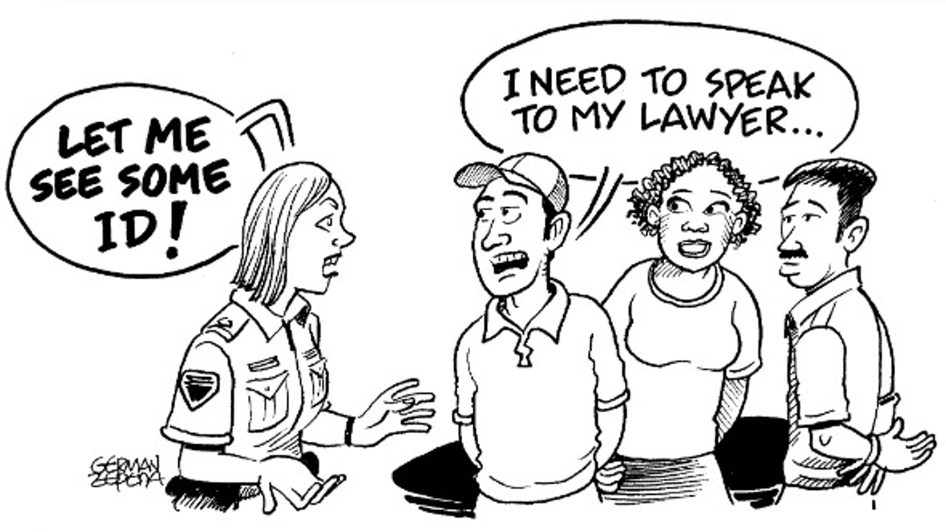 A cartoon from a pamphlet providing legal advice to illegal immigrants featured on the Princeton government's website.