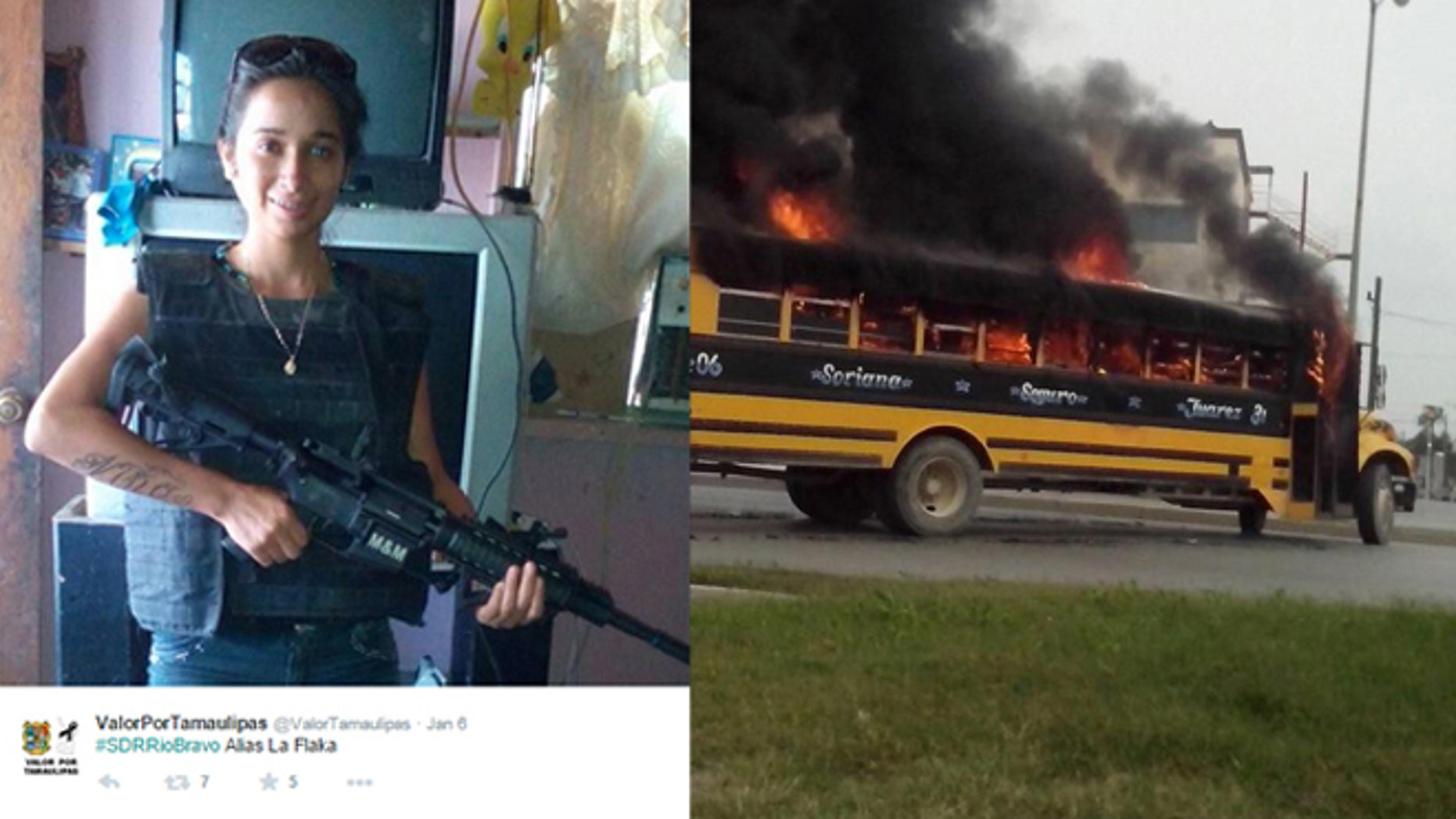 """Cartel assassin Joselyn Alejandra Niño, """"La Flaca,"""" was found dismembered in a cooler. """"La Flaca"""" is seen posing with an assault rifle on social media by Valor Por Tamaulipas. On the right, a school bus blazes on a street of Reynosa, Tamaulipas state, Mexico on April 17, 2015. Gunfights erupted in broad daylight on Friday in a Mexican city across the US border and vehicles were torched, apparently in reaction to a drug cartel leader's arrest, officials said."""