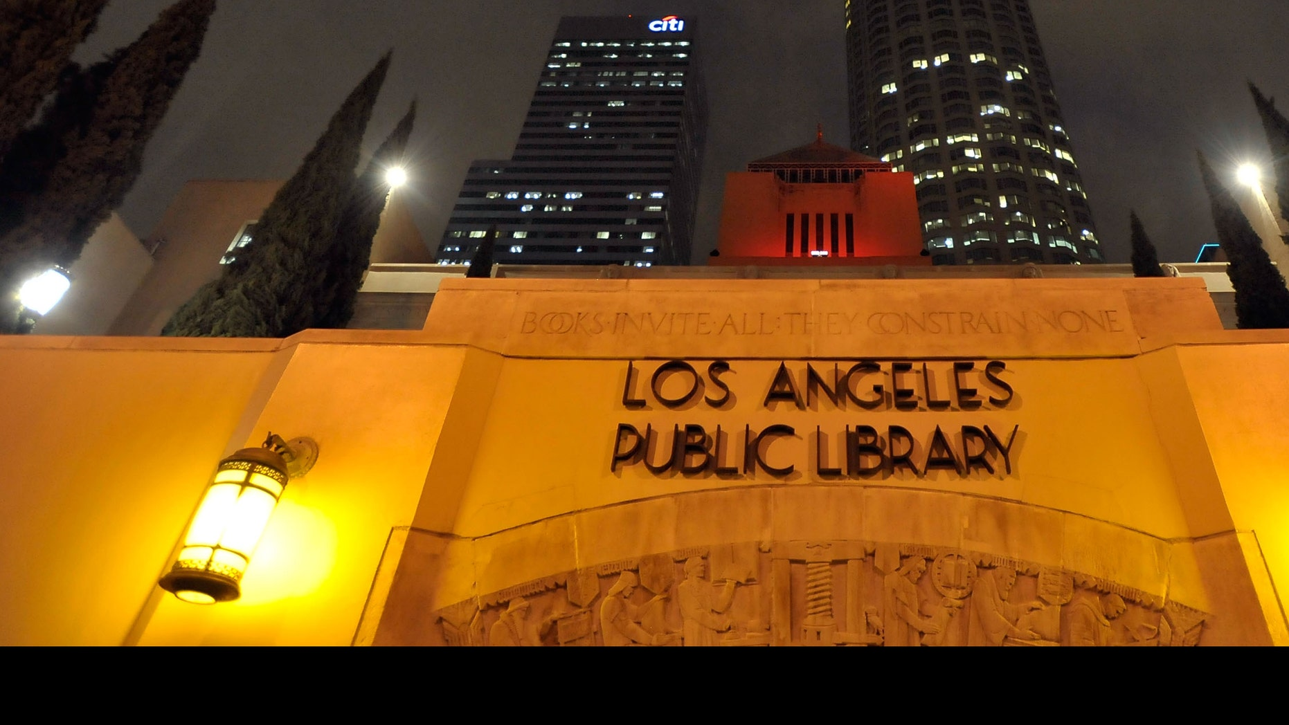 LOS ANGELES, CA - DECEMBER 01:  Los Angeles' Central Public Library is illuminated (RED) in honor of World AIDS Day. Los Angeles is one of ten major cities joining (RED) to raise awareness and funds to help eliminate AIDS in Africa on December 1, 2009 in Los Angeles, California.  (Photo by Charley Gallay/Getty Images for (RED))
