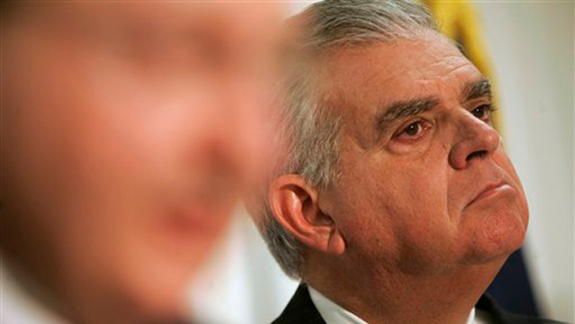 Transportation Secretary Ray LaHood, right, is shown here at a news conference in Allentown, Pa., March 4.