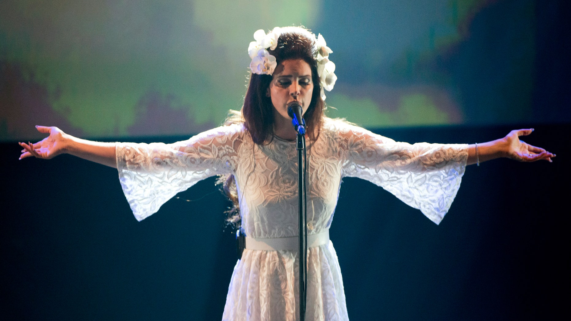 July 4, 2012. Singer Lana del Rey performs in the Miles Davis Hall during the 46th Montreux Jazz Festival.