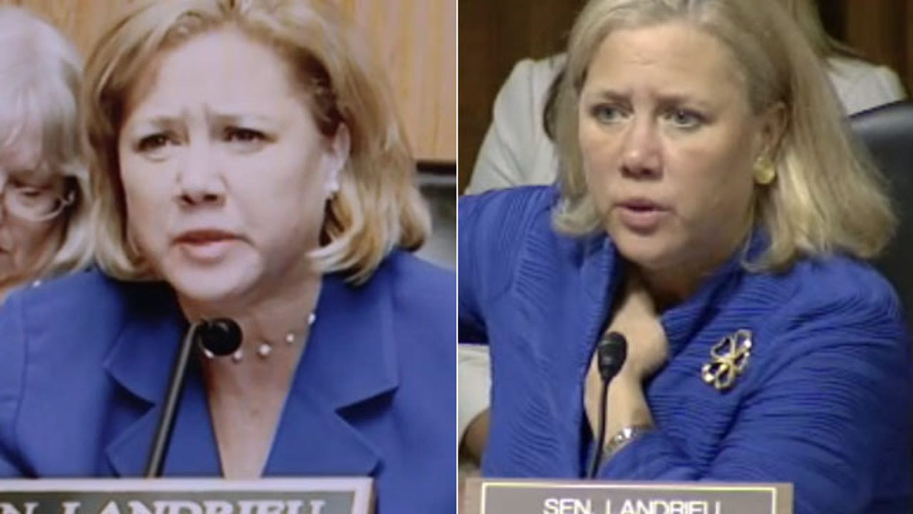 Sen. Mary Landrieu in her campaign ad, left, and at a congressional hearing.