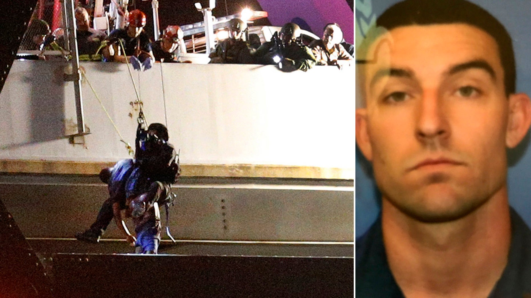 Jan. 20, 2017: Sylvester Holt, left, is lifted off the ledge of the Crescent City Connection by an officer. Holt was wanted for the shooting of his wife and Westwego police officer Michael Louviere, right.
