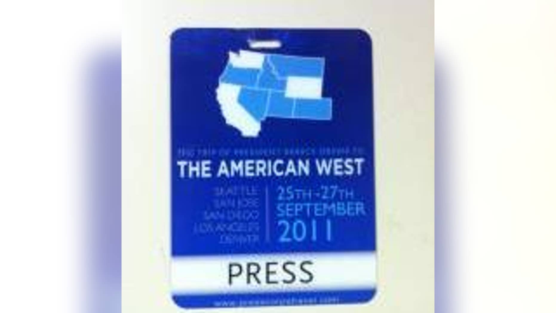 Press Credential distributed to traveling White House Press Corp