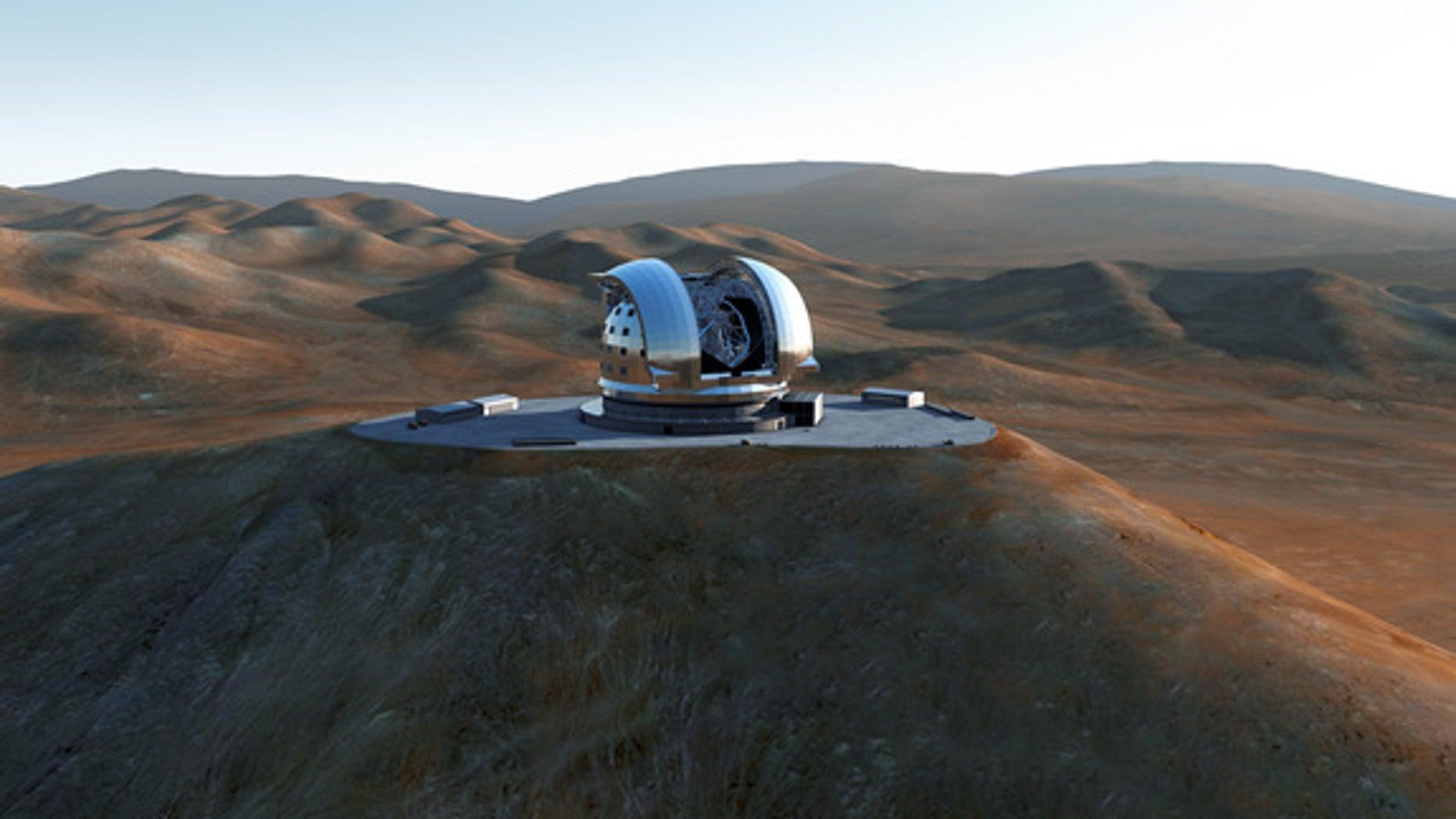 Artist's impression of the European Extremely Large Telescope (E-ELT).