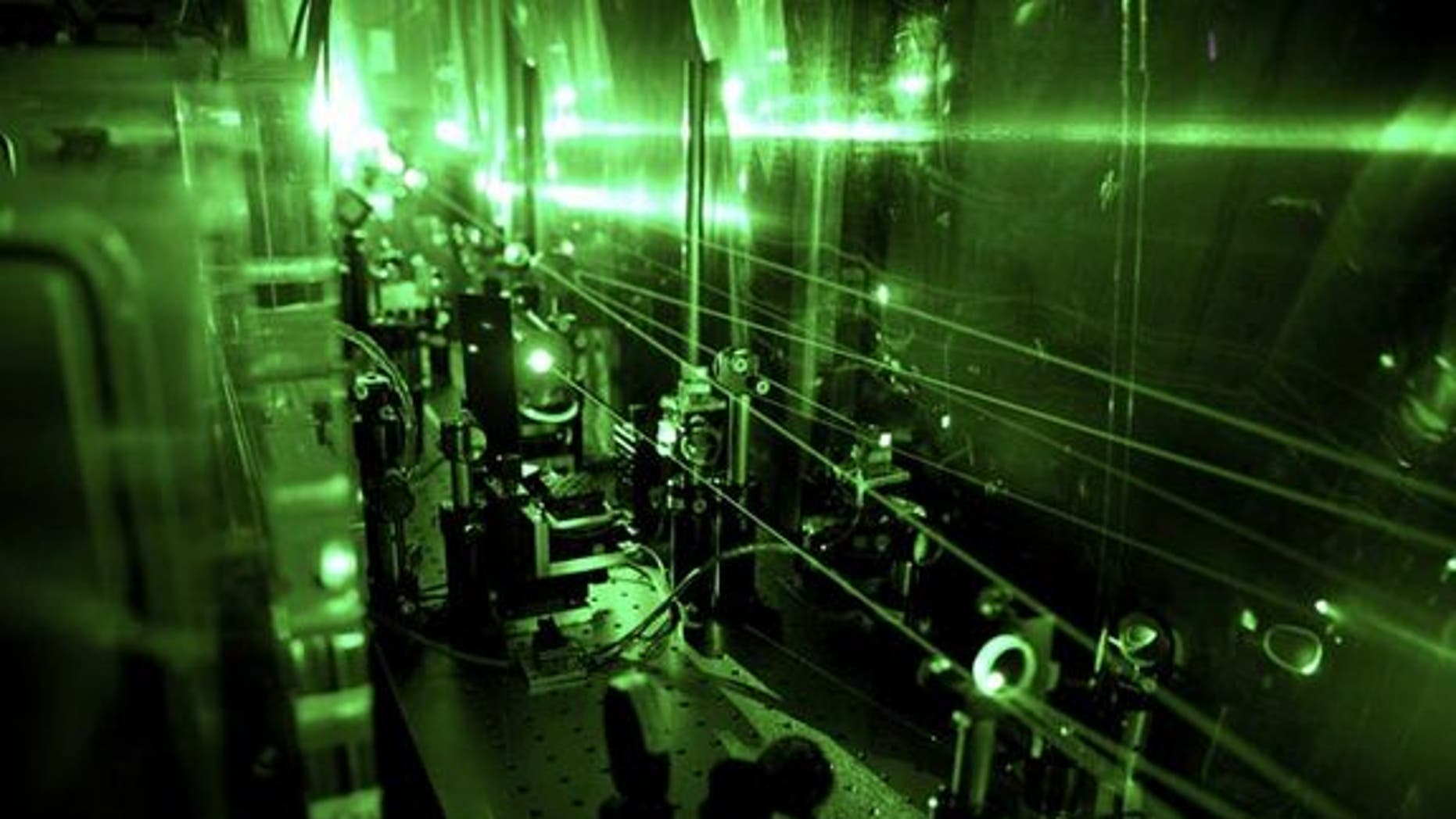 This laser apparatus used to test the size of the proton found that the particle's radius is about 4 percent smaller than thought.