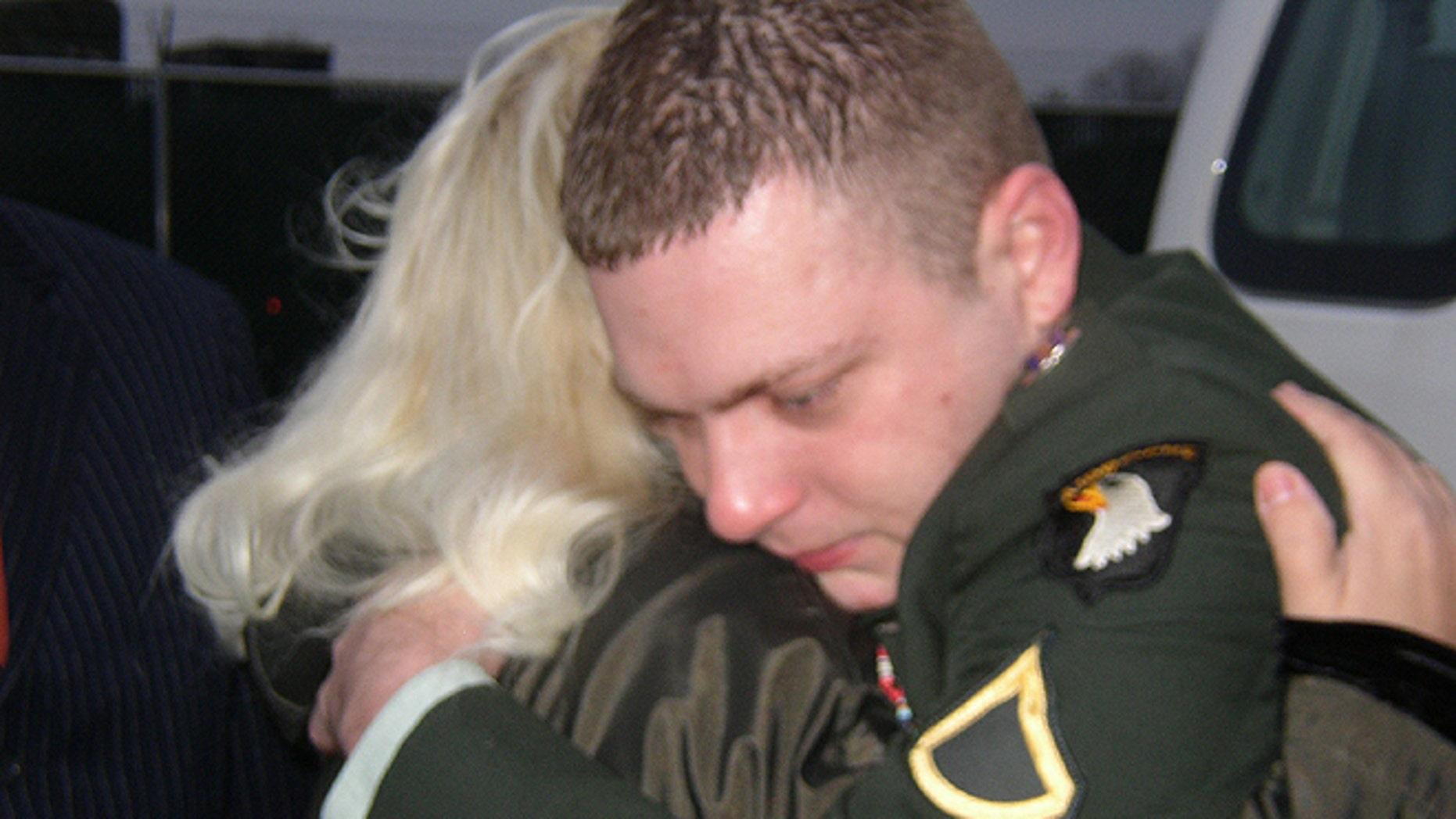 Corey Clagett, seen here hugging his mother before leaving to begin his prison sentence in 2007, was recently released and is petitioning for a pardon so he can re-enlist.