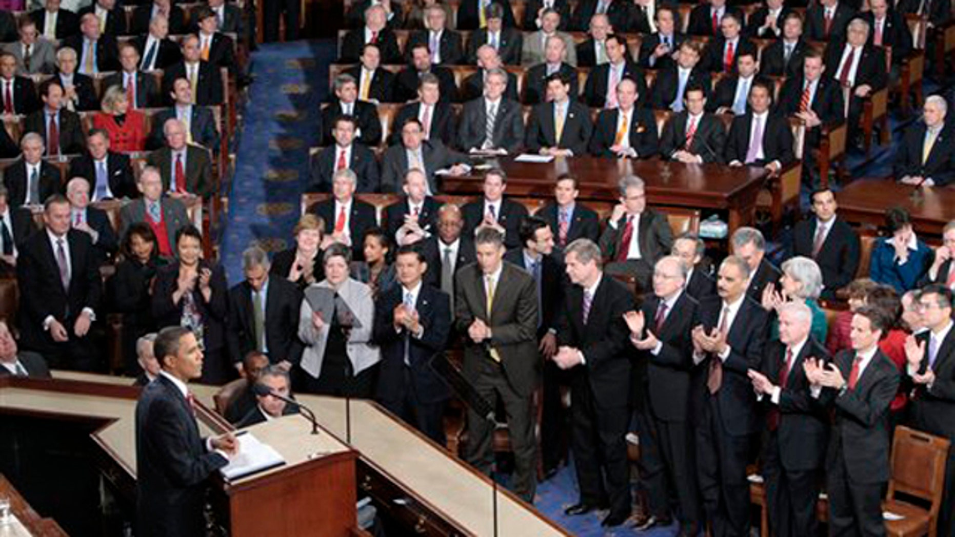 In this Jan. 27, 2010, photo President Barack Obama delivers his State of the Union address on Capitol Hill in Washington.