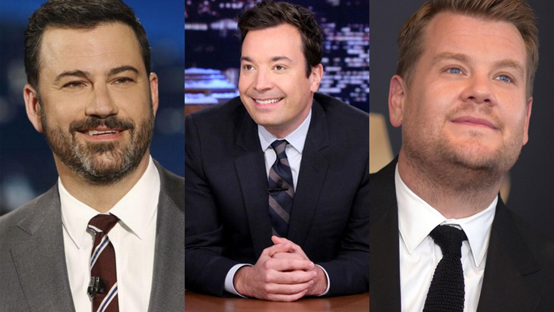 Frim l-r: Late night hots Jimmy Kimmel, Jimmy Fallon and James Corden.
